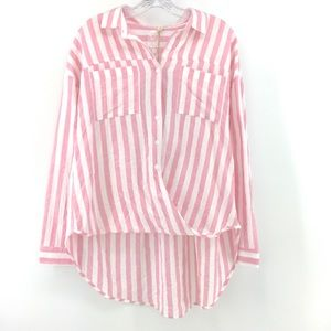 Listicle Striped Cotton Shirt Pink White SML  New